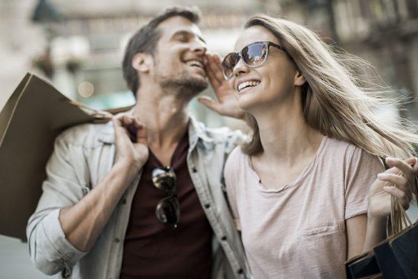 Close up of a couple enjoying shopping together